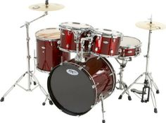"Sound Percussion Pro 5-Piece Shell Pack with Chrome Hardware Wine Red by Sound Percussion. $320.73. This Sound Percussion Pro 5-Piece drum shell pack includes a 22"" x 16"" kick drum, 12"" x 9"" and 13"" x 10"" toms, a 16"" x 16"" floor tom, and a matching 14"" x 5-1/2"" snare drum with deluxe throw-off. The 8-ply basswood shells feature 45-degree bearing edges, chrome hoops and lugs, and double-ply drumheads. The toms come with suspension mounting brackets and heavy-duty tom arms. The ..."