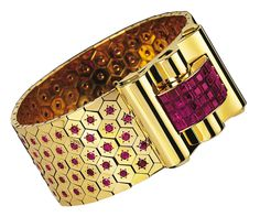 "Van Cleef & Arpels, ""Ludo"" bracelet, Paris, 1939, gold, rubies and star rubies in Mystery Setting"