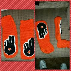 Philadelphia flyers slippers hand crocheted $27 Alex Draven Designs on facebook and instagram