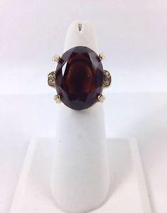 Vintage Fashion Jewelry Gold Tone Ring Large Oval Dark Red White Adjustable Nice   eBay