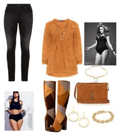 """""""Suede Chic"""" by tricky ❤ liked on Polyvore featuring Manon Baptiste, Frye, Yves Saint Laurent, Ashley Graham, Alexis Bittar, Vita Fede, Calvin Klein and Silver Jeans Co."""