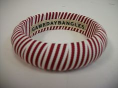 "Designer: Gameday bangles Style: Narrow Size:  3/4""  Bangle Grosgrain Ribbon Colors: Crimson and white multi striped  A must for Alabama Crimson Tide, Oklahoma Sooners and Arkansas Razorbacks football games.   Size Guide: Original- 3/4"" Wide Wide- 1  1/2' Wide  2 3/4 internal diameter on both Original and Wide  $11"