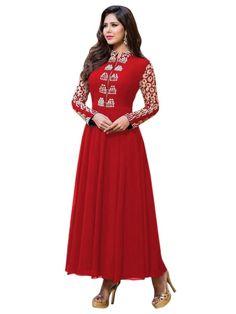 Party Wear Georgette Red Anarkali Suit  - EBSFSKRB334005G