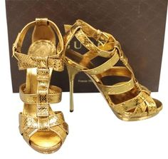 Gucci Gold Pumps Gucci Runway Gladiator Python Platform Pumps Sandals Shoes 39.5/9.5 New Authentic Size 9.5 51% Off | Tradesy