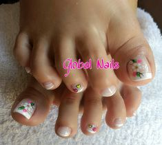 Uñaslindas Cute Pedicure Designs, Toenail Art Designs, Cute Toe Nails, Cute Nail Art, Cute Pedicures, Manicure And Pedicure, Pretty Toes, Pretty Nails, Nails On Fleek