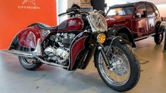 Italian motorcycle specialist South Garage has turned the iconic Citroën design into a working motorcycle 2cv6, Red Motorcycle, Triumph Bonneville, Garage, Charleston, Trucks, Bike, Vehicles, Motorcycles