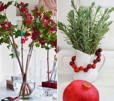 Déco Table Noël Rouge Et Blanc   Arrangements De Branches à Baies  Rouges/branches Vertes