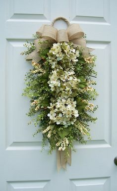 Hydrangea Wreath Swag***Natural Elegance**~Burlap Bow with Ribbon Tails~ Front Door~Winter, Spring, Summer, Fall~ Timeless Floral Creations