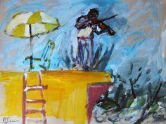 "Saatchi Online Artist: Beverley Isaacs; Mixed Media, 2010, Painting ""Fiddler on the Roof"" medium"