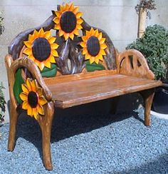 horses and sunflowers | Hand carved from pine, the range of chairs and benches from casa ...