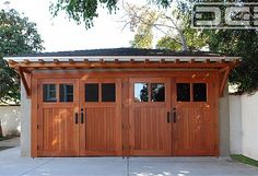 View design ideas on our custom-made carriage doors for garage conversions including this LA Carriage Door conversion project complete with a matching pergola! Cheap Garage Doors, Garage Door Colors, Garage Door Windows, Modern Garage Doors, Garage Door Design, Carriage Garage Doors, Garage Floor Paint, Door Crafts, Garage Door Makeover