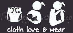 Cloth Love Wear Car Decal cloth diapering by TheHappyStickerShop