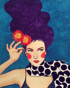 Por amor al arte: Hülya Özdemir Art And Illustration, Watercolor Illustration, Illustrations, Kunst Inspo, Art Inspo, Portrait Art, Portraits, Art Populaire, Colorful Paintings