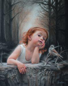 "Saatchi Online Artist: Marina Dieul; Conte Drawing ""La moinette"""
