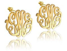Monogrammed Earrings on Post - Gold Plated www.personalizzed.com
