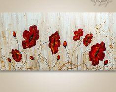 Peinture abstraite, peinture de l'arbre, peinture texturée, peinture de paysage, abstrait Wall art, décoration murale, grand abstrait peinture coquelicots rouge