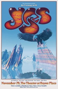 Yes Concert Poster. Rock Posters, Band Posters, Event Posters, Patrick Nagel, Concert Rock, Roger Dean, Vintage Concert Posters, Yes Band, Music Pics