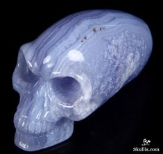 Blue Lace Agate Crystal the Kingdom of the Crystal Skull Blue Lace Agate, Crystal Skull, Semi Precious Gemstones, Stones And Crystals, Wands, Hand Carved, Sculptures, Carving, Skulls