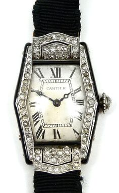 Art deco enamel and diamond wristwatch by Cartier, Paris c.1920 , of elongated hexagonal outline, the silvered dial with Roman numerals and blued steel hands within a rose-cut diamond surround, rose c