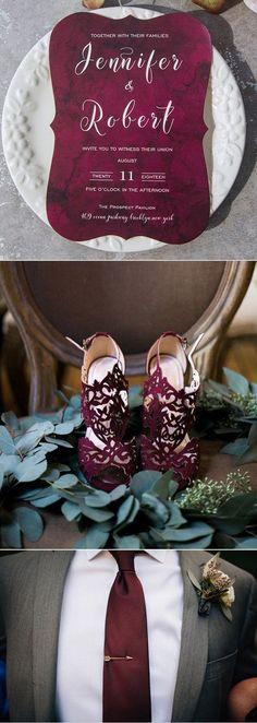Dark burgundy and grey wedding color inspiration ideas with fancy matching invitation#weddinginvitations#ElegantWeddingInvites