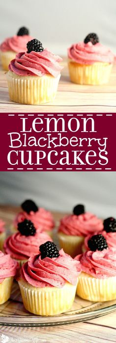 Lemon Blackberry Cupcakes Recipe - This lemon cupcakes recipe is delicious and refreshing. Would be so pretty for a party or shower! These are absolutely fabulous