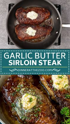 This sirloin steak is seared to golden brown perfection, then topped with garlic and herb butter. A simple, yet totally satisfying way to enjoy steak. Steak Recipes Pan, Steak Dinner Recipes, Pellet Grill Recipes, Grilled Steak Recipes, Grilling Recipes, Easy Dinner Recipes, Cooking Recipes, Meals With Steak, Dinner Ideas With Steak