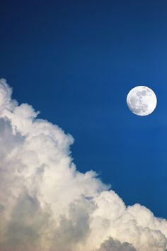 A beautiful moment the moon in the blue sky   clouds, fluffy clouds, white clouds