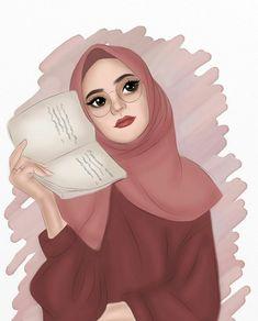 Girl Cartoon, Cartoon Art, Hijab Drawing, Islamic Cartoon, Anime Muslim, Hijab Cartoon, Islamic Girl, Love Illustration, Mode Hijab