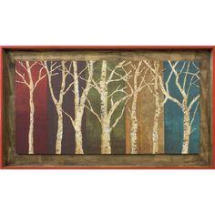 Quadro Tela Decorativa Abstrata Árvores com Moldura Marrom e Vermelha 138x78cm Frame, Home Decor, Abstract Trees, Canvas Frame, Decorative Frames, Moldings, Pen And Wash, Drawings, Paintings