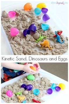 Playing with kinetic sand, dinosaurs and plastic eggs. A fun sensory activity that is great for developing fine motor skills! You are in the right place about Dinosaur games Here we offer you the most Dinosaur Theme Preschool, Dinosaur Dig, Dinosaur Activities, Preschool Themes, Sensory Activities, Preschool Crafts, Toddler Activities, Sensory Play, Dinosaur Projects