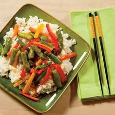 Farmers Market Stir-Fry with Asparagus, Bell Pepper and other fresh vegetables