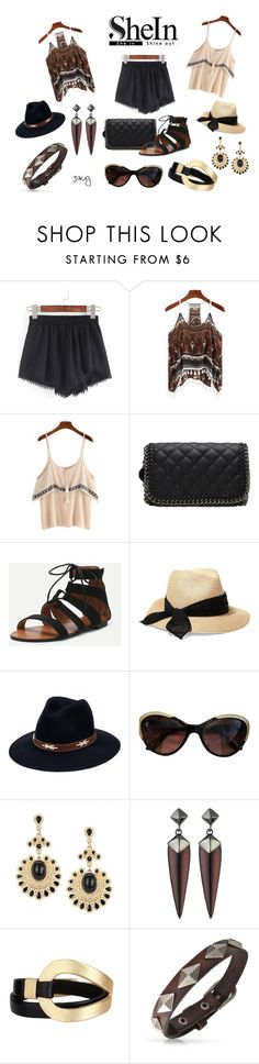 """Pom Pom Shorts : Two Looks"" by justjacy ❤ liked on Polyvore featuring Eugenia Kim, San Diego Hat Co., Valentino, Alexis Bittar, Saachi, Bling Jewelry, Sheinside and contestentry"