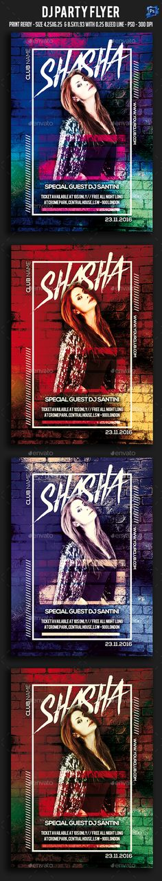 Dj Party Flyer  — PSD Template #inspiration #artistic #event • Download ➝ https://graphicriver.net/item/dj-party-flyer/18601974?ref=pxcr