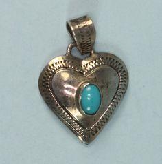Vintage Heart Pendant Sterling Turquoise Signed by PastSplendors, $43.00