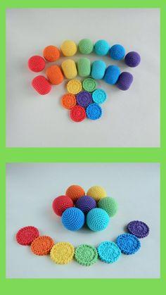 Toddler activity Montessori toys Rainbow baby crochet balls Baby development eco friendly toys Organic Baby Toys, Crochet Ball, Rainbow Crochet, Eco Friendly Toys, Baby Development, Learning Colors, Montessori Toys, Rainbow Baby, Educational Toys