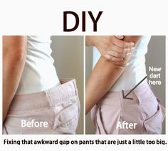 Know that awkward gap you sometimes get with pants? This post explains how to fix it in less than 30 minutes. Tons of great diy ideas on this blog.