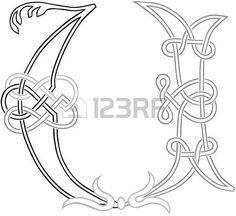 A Celtic Knot-work Capital Letter U Stylized Outline photo