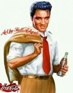 Elvis with Coca Cola (although he actually preferred the sweeter Pepsi Cola)! Coca Cola Poster, Coca Cola Ad, Always Coca Cola, World Of Coca Cola, Vintage Coca Cola, Elvis Presley, Vintage Advertisements, Vintage Ads, Vintage Signs