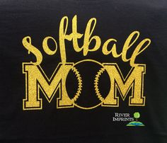SOFTBALL MOM cursive, shiny glitter t-shirt -- Choose from a Regular Unisex or Ladies' Fitted Fitted tee