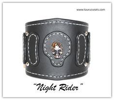 Bikers Leather Cuff Bracelet, Wristband with Skull Rivet, Chrome Studs, Silver Stitching, Motorcycle Accessory, Mens Leather Bracelet