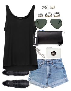 """""""Untitled #2385"""" by plainly-marie ❤ liked on Polyvore featuring Levi's, H&M, Topshop, David Yurman, Balenciaga and Ray-Ban"""