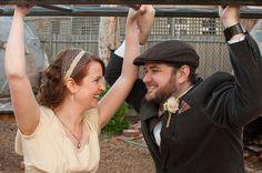 Monkey bars Monkey, Wedding, Valentines Day Weddings, Jumpsuit, Monkeys, Weddings, Marriage, At Sign, Chartreuse Wedding