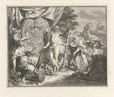anoniem | Allegorische voorstelling met het wapenschild van Wales, workshop of Bernard Picart, 1716 | Hercules, met Cerberus aan de ketting, en Minerva wijzen drie gekroonde vrouwen op het wapenschild van Wales. Zij hebben alle drie een scepter in de hand, respectievelijk bekroond met een rijksappel, een lier en een dennenappel. Zij knielen voor het wapenschild en hebben een zak met geld meegebracht als eerbetoon. Links op de voorgrond zit Kracht op een gebroken zuil, met een knots en…