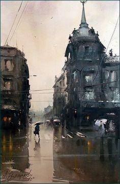 Dusan Djukaric Watercolor, 36x55 cm