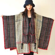 Gray and Red Handwoven Women's Poncho by subrosa123 on Etsy, €370,00