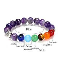 Gorgeous Semi-Precious Stone 7 Chakra Bracelet with Buddha Charm Highest Quality out there! Smoothly Polished stone 7 Chakra Bracelet with Silver Buddha Charm. 7 Chakras, Chakra Beads, Chakra Jewelry, Chakra Symbols, Chakra Stones, Chakra Necklace, Diy Necklace, Crystal Healing Stones, Stones And Crystals