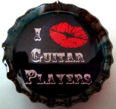 I Kiss Guitar Players Bottlecap Necklace by GroupieGlam on Etsy, $10.00