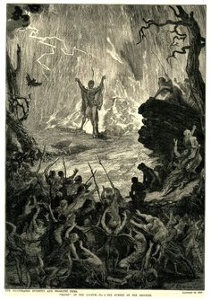 Scene from 'Faust'; Henry Irving as Mephistopheles at the summit of the Brocken; he stands with arms raised, looking down towards the devil and the damned, who clutch at each other and clamber up towards Mephistopheles; illustration to 'The Illustrated Sporting and Dramatic News'. 1886 Wood-engraving   After: David Henry Friston. Print made by: R Taylor & Co Date1886