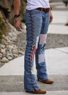 36 Genius Ways To Transform Your Jeans DIY Jeans Makeovers – DIY Leather Lace-Up Jeans – Easy Crafts and Tutorials to Refashion and Upcycle Your [. Daily Fashion, Teen Fashion, Fashion Ideas, Diy Jeans, Diy Clothing, Sewing Clothes, Clothes Refashion, Teens Clothes, Jeans Refashion