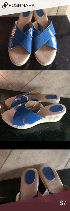 New blue wedges NWTs -- will only sell as a bundle New slide on blue wedges Merona Shoes Wedges